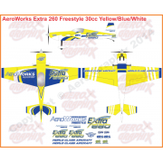 AeroWorks Extra 260 Freestyle Yellow/Blue/White 30 cc size