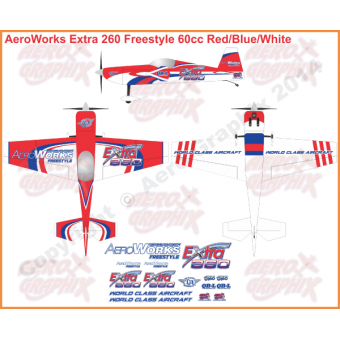 AeroWorks Extra 260 Freestyle Red/Blue/White 60 cc size